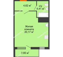Студия 38,54 м², ЖК Дом у Самолета - планировка