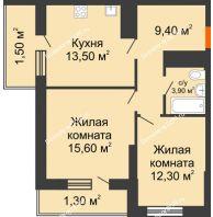 2 комнатная квартира 57,5 м², ЖК Клубный дом на Мечникова - планировка