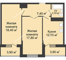 2 комнатная квартира 64,4 м² в ЖК Первый, дом Литер 1 - планировка