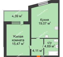 1 комнатная квартира 43,34 м² в ЖК На Мельникайте, дом ГП-17 - планировка