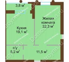 1 комнатная квартира 60 м², Жилой дом: ул. Почаинская д. 33 - планировка