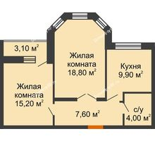 2 комнатная квартира 57,1 м² в ЖК Елецкий Лайт , дом № I-14 - планировка
