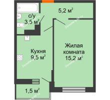 1 комнатная квартира 34,5 м², ЖК Акварели-3 - планировка