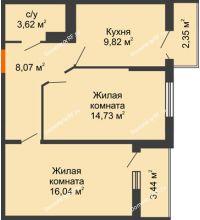 2 комнатная квартира 54,7 м² в ЖК Семейный парк, дом Литер 2 - планировка