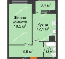 1 комнатная квартира 44,6 м² в ЖК Подкова на Родионова, дом № 2 - планировка
