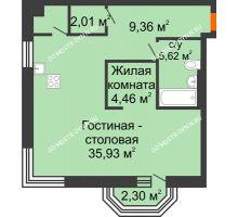 1 комнатная квартира 59,87 м², ЖК Дом на Гребешке - планировка