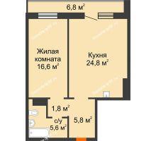 2 комнатная квартира 58 м² в ЖК на Калинина, дом № 2.1 - планировка