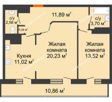 2 комнатная квартира 74,18 м² в ЖК Покровский, дом № 1