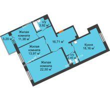 3 комнатная квартира 89,09 м² в ЖК Новый Академгородок, дом № 2 - планировка