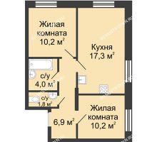 2 комнатная квартира 49 м² в ЖК Цветы, дом № 10 - планировка