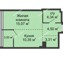 1 комнатная квартира 41,07 м², ЖК Белый Ангел - планировка