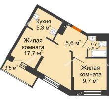 2 комнатная квартира 41,3 м² в ЖК Грани, дом Литер 4 - планировка