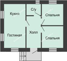 3 комнатная квартира 48 м² в КП Красный сад, дом Тип 1, 48 м² - планировка