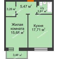 1 комнатная квартира 46,97 м² в ЖК Новоостровский, дом № 2 корпус 1 - планировка