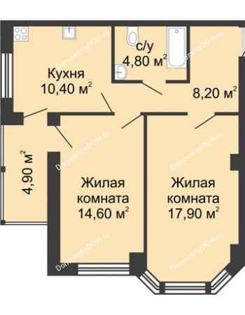 2 комнатная квартира 60,8 м² в ЖК Мега, дом № 2