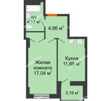 1 комнатная квартира 40,12 м² в ЖК Аврора, дом № 2 - планировка