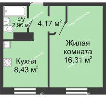 1 комнатная квартира 31,87 м² в ЖК Бурнаковский, дом № 38