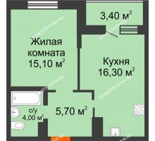 1 комнатная квартира 42,8 м² в ЖК Подкова на Цветочной, дом № 7 - планировка