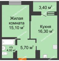 1 комнатная квартира 44,5 м² в ЖК Подкова на Цветочной, дом № 7 - планировка