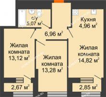 2 комнатная квартира 60,98 м² в ЖК Дом на Набережной, дом № 1 - планировка
