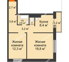 2 комнатная квартира 53,7 м² в ЖК Мичурино, дом № 3.2 - планировка