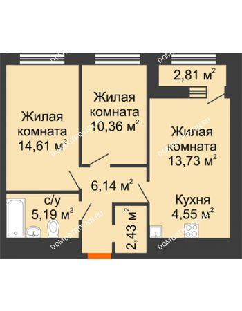 2 комнатная квартира 58,42 м² в ЖК Дом на Набережной, дом № 1