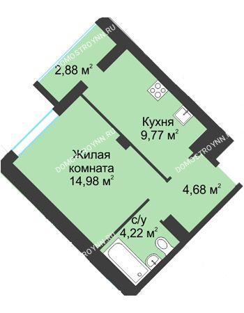 1 комнатная квартира 36,53 м² в ЖК На Вятской, дом № 3 (по генплану)