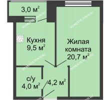 1 комнатная квартира 41,4 м², Жилой дом: ул. Страж Революции - планировка