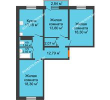 3 комнатная квартира 84,05 м² в ЖК Мончегория, дом № 5 - планировка
