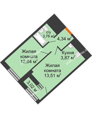 1 комнатная квартира 39,12 м² в ЖК Дом на Набережной, дом № 1