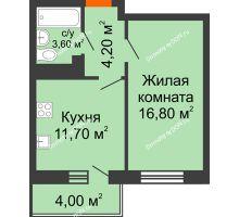 1 комнатная квартира 37,5 м² в ЖК Я, дом  Литер 2 - планировка