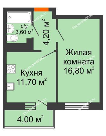 1 комнатная квартира 37,5 м² в ЖК Я, дом  Литер 2