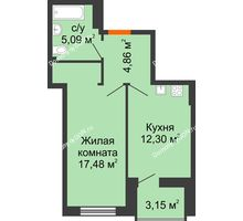 1 комнатная квартира 41,31 м² в ЖК Аврора, дом № 3 - планировка