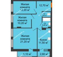 3 комнатная квартира 79,8 м² в ЖК На Тимошенко, дом № 1 - планировка