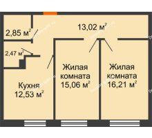 2 комнатная квартира 62,14 м², ЖК Две реки - планировка