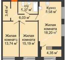 2 комнатная квартира 69,87 м² в ЖК Дом на Набережной, дом № 1 - планировка