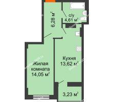 1 комнатная квартира 40,18 м² в ЖК Аврора, дом № 2 - планировка