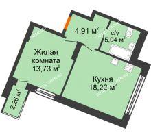 1 комнатная квартира 44,16 м² в ЖК Книги, дом № 1 - планировка