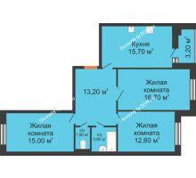 3 комнатная квартира 80,2 м² в ЖК Вересаево, дом Литер 7/2 - планировка
