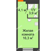 Студия 24,3 м², Комплекс апартаментов KM TOWER PLAZA (КМ ТАУЭР ПЛАЗА) - планировка