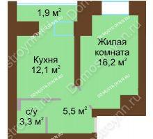 1 комнатная квартира 40,9 м² в ЖК Рубин, дом № 67