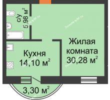 1 комнатная квартира 53,66 м², ЖК На Владимирской - планировка