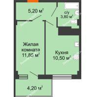 1 комнатная квартира 33,15 м² в ЖК Грин Парк, дом Литер 1 - планировка