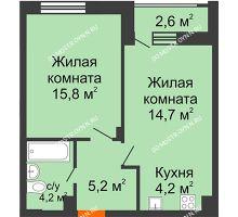 1 комнатная квартира 45,4 м² в ЖК Октава, дом №7 - планировка