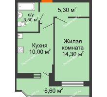 1 комнатная квартира 35,4 м² в ЖК Победный, дом Литер 3 - планировка