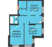 3 комнатная квартира 57,8 м² в Микрорайон Новая жизнь, дом позиция 19 - планировка