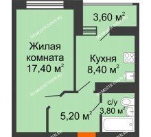 1 комнатная квартира 36,6 м² в ЖК Цветы, дом № 22-2 - планировка