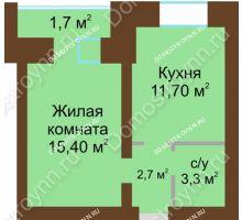 1 комнатная квартира 36,5 м² в ЖК Рубин, дом № 67