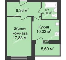 1 комнатная квартира 43,66 м² в ЖК Планетарий, дом № 6 - планировка
