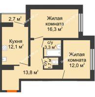 2 комнатная квартира 60,6 м² в ЖК Задонье, дом Позиция 2 - планировка